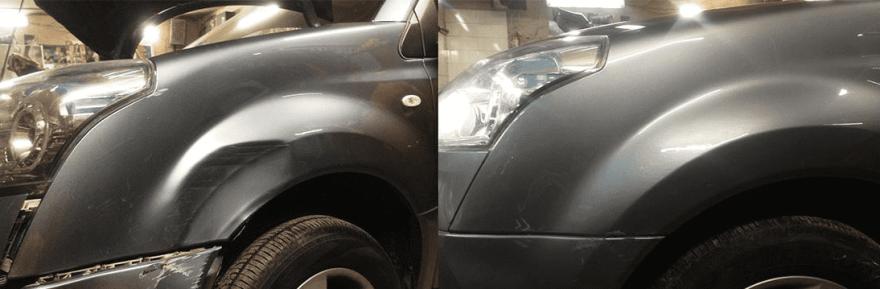 Фото до и после ремонта крыла автомобиля