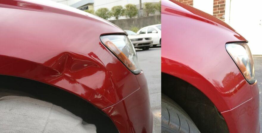 Фото до и после ремонта крыла авто