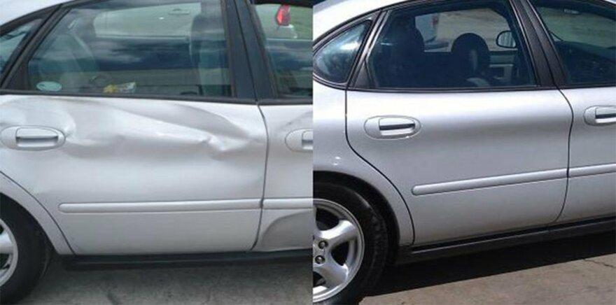 Фото до и после ремонта двери
